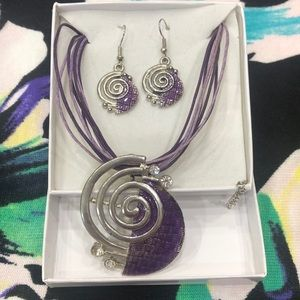Purple and Silver Tone Necklace & Earring Set
